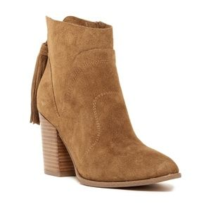 Marc Fisher Janay Tassel Brown Suede Booties